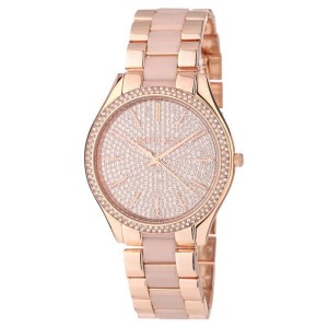 cb3936cd3b2a Michael Kors MK4288 Slim Runway Gold Crystal Dial Gold Steel Bracelet Womens  Watch