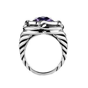 David Yurman Sterling Silver Diamond & Amethyst Ring