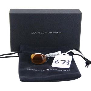 David Yurman Sterling Silver Chevron Round Tiger Eye Ring Size 10