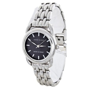 Anne Klein AK/1365 Stainless Steel Bracelet Elegant Black Dial Womens Watch
