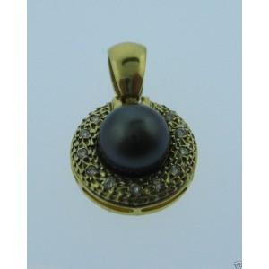 14K Yellow Gold Pearl Diamond Pendant Charm Necklace