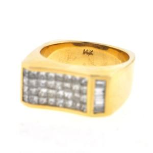 14K Yellow Gold & 1.75ct Diamond Ring Sz 10