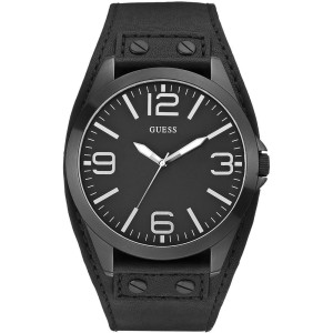 Guess Casual Black Dial Leather Band Analog Quartz W0181G2 46mm Watch