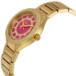 Michael Kors MK3442 Mini Kerry Fuchsia Dial Gold Tone Stainless Womens Watch