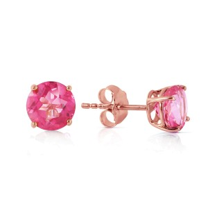 1.3 CTW 14K Solid Rose Gold Spotlight Pink Topaz Stud Earrings
