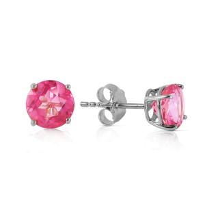 1.3 CTW 14K Solid White Gold Seek Respect Pink Topaz Earrings