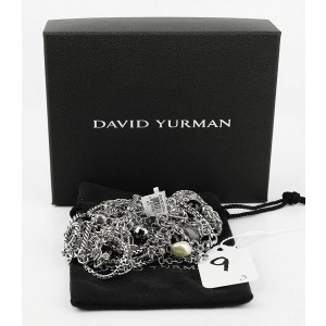 David Yurman Sterling Silver 4-Row Briola Pearls, Black Onyx and Hematite Cable Necklace