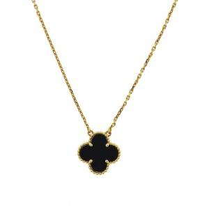 Van Cleef And Arpels 18k Vintage Alhambra Onyx Necklace