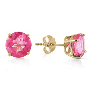 3.1 CTW 14K Solid Gold Precisely Why Pink Topaz Earrings