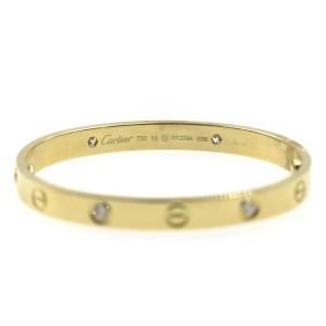 Cartier Love 18K Yellow Gold Diamond New Screw System Bracelet Size 16