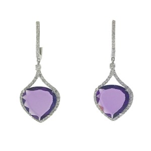 14k White Gold Amethyst and Diamond Drop Earrings 1.15 cts