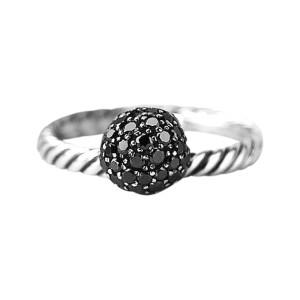 David Yurman 925 Sterling Silver Black Diamond Ball Stack Ring Size 6 & 7
