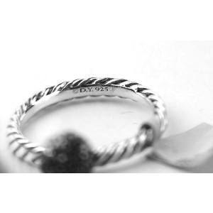 David Yurman 925 Sterling Silver White Diamond Ball Stack Ring Size 7