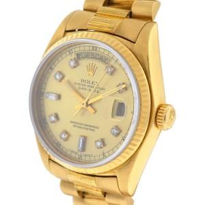 Rolex 18038 Day Date President 18k Yellow Gold Diamond Dial Watch