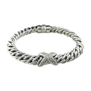 David Yurman 925 Sterling Silver And Diamond X Wheat Chain Bracelet
