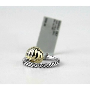 David Yurman 925 Sterling Silver & 18K Yellow Gold Ball Stack Ring Size 7