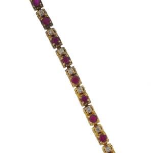 Yellow Gold Diamond, Ruby Mens Bracelet
