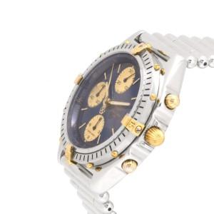 Breitling Chronomat B13047 18K Yellow Gold Automatic Blue Dial Bezel 38mm Mens Watch