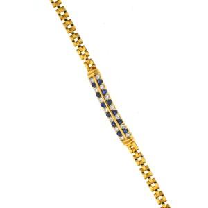 Yellow Gold Sapphire, Diamond Mens Bracelet