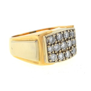 Yellow Gold Diamond Mens Ring Size 13.34