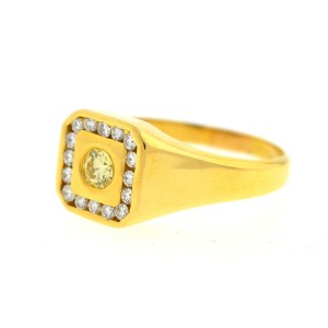 Yellow Gold Sapphire, Diamond Mens Ring Size 7.93