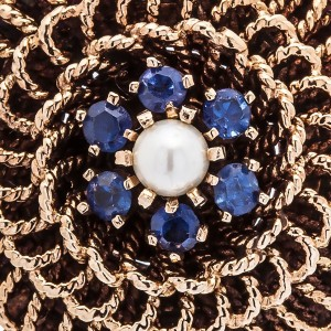 Vintage 14K Yellow Gold Dome Sapphire Pearl Pendant Brooch 15.3 Grams 34mm