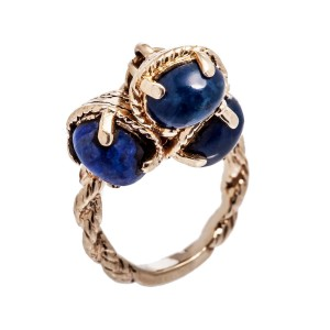 14K Yellow Gold Dangle Blue Lapez Rope Style Ring 5.9 Gr Size 2