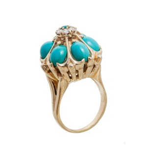 14K Yellow Gold 0.35Ct Diamond 5Ct Turquoise Ring 16 Gr Size 7
