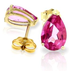 3.15 CTW 14K Solid Gold Gem Of A Woman Pink Topaz Earrings