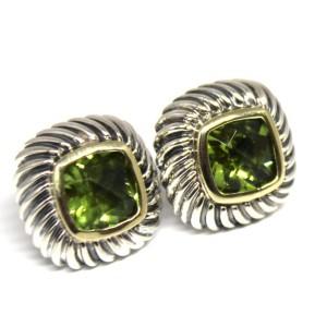 David Yurman 925 Sterling Silver 14k Yellow Gold Albion Peridot Earrings