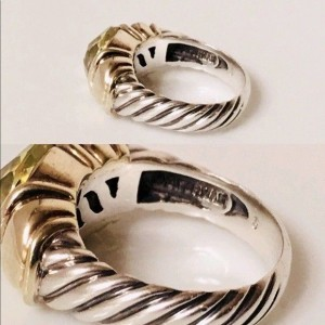 David Yurman Classic Cable Sterling Silver and 14K Yellow Gold with Lemon Citrine Ring Size 6