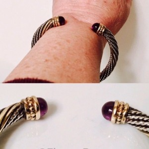 Alwand Vahan Sterling Silver and 14K Yellow Gold with Amethyst Cable Cuff Bracelet