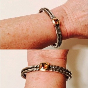 David Yurman Sterling Silver and 18K Yellow Gold with Citrine Double Cable Cuff Bracelet