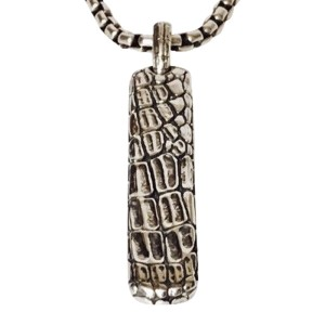 David Yurman Sterling Silver Gator Tag and Box Chain Necklace