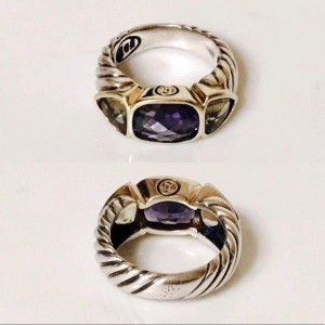 David Yurman Sterling Silver and 18K Yellow Gold with Iolite and Citrine Mosaic Renaissance Ring Size 6