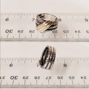 David Yurman Sterling Silver and 14K Yellow Gold 3 Row Cable Crossover Ring Size 5.5