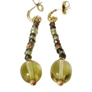 David Yurman 18K Yellow Gold Tweejoux Multi Gemstone Drop Earrings