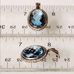 David Yurman Signature Sterling Silver with Blue Topaz and 0.68ct. Diamond Enhancer Pendant