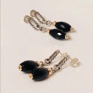David Yurman Bijoux Sterling Silver and 18K Yellow Gold with Black Onyx Drop Earrings