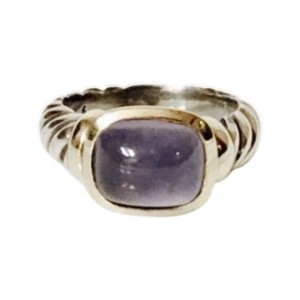 David Yurman Sterling Silver and 14K Yellow Gold with Chalcedony Noblesse Ring Size 6