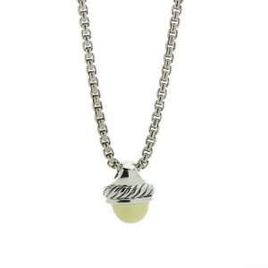 David Yurman Cable Classics 14K Yellow Gold and 925 Sterling Silver Acorn Pendant Necklace