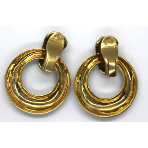 Vintage Ilias Lalaounis 18K Yellow Gold and Enamel Dangle Hoop Earrings