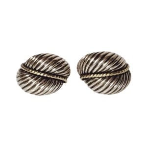 David Yurman Sterling Silver and 14K Yellow Gold Cable Dome Earrings