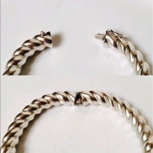 Tiffany & Co. Sterling Silver Twist Hinged Bangle Bracelet