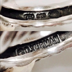 David Yurman Sterling Silver and 14K Yellow Gold with Diamond X Cable Crossover Ring Size 5