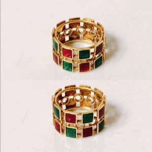 Gucci 18K Yellow Gold Green & Red Enamel Wide Band Statement Ring Size 5.5