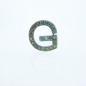 """Fine Estate 14K White Gold Diamond """"G"""" Pendant Charm"""
