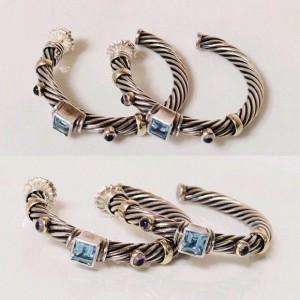 David Yurman 925 Sterling Silver & 14K Yellow Gold Blue Topaz & Iolite Renaissance Cable Hoop Earrings