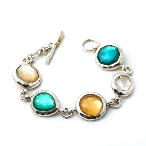IPPOLITA Sterling Silver 925 WONDERLAND 5 Multi Gemstones Rock Candy Bracelet 7""