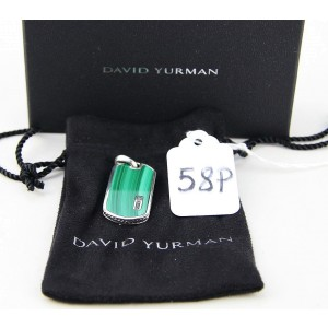 David Yurman 925 Sterling Silver with Malachite Dog Tag Pendant